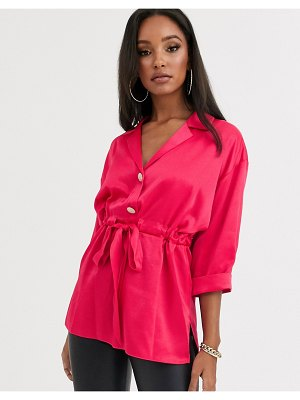 River Island satin shirt with gathered waist in pink