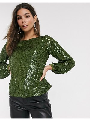 River Island sequin blouse in green