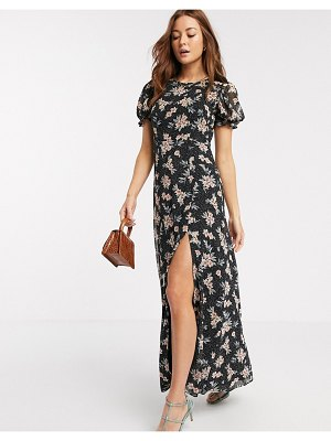 River Island short sleeve chiffon floral maxi dress in black