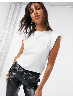 River Island shoulder pad tank top in white