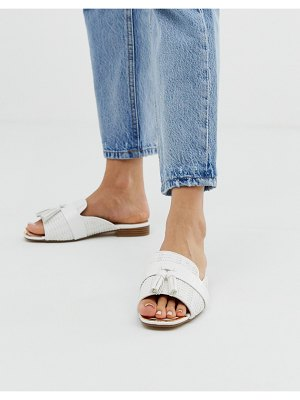 River Island sliders with tassel detail in white