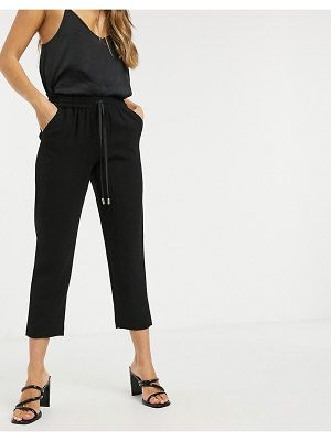 River Island tailored crepe sweatpants in black