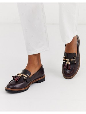 River Island tassel loafer in burgundy-red