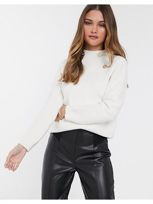 River Island turtleneck sweater with gold buttons in cream