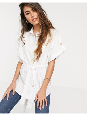 River Island waisted shirt in white