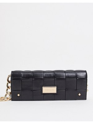 River Island woven clutch bag with gold chain in black