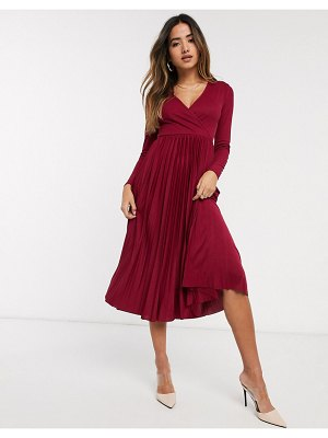 River Island wrap front pleated midi dress in burgundy-red