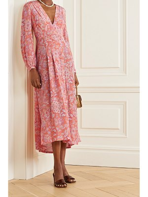 Rixo camellia pleated floral-print silk crepe de chine midi dress
