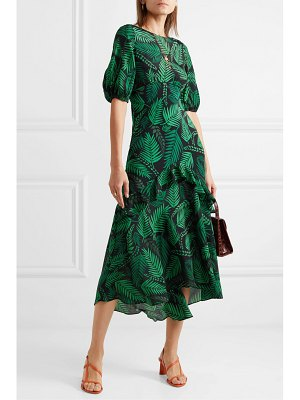 Rixo cheryl ruffled printed silk crepe de chine midi dress