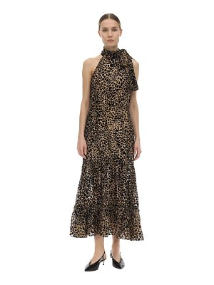 Rixo Eleanor leopard print silk devoré dress