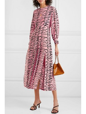 Rixo emma pleated printed silk crepe de chine midi dress