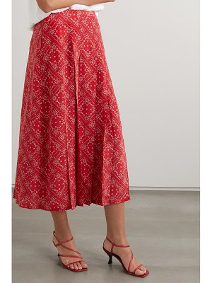 Rixo georgia pleated paisley-print silk midi skirt