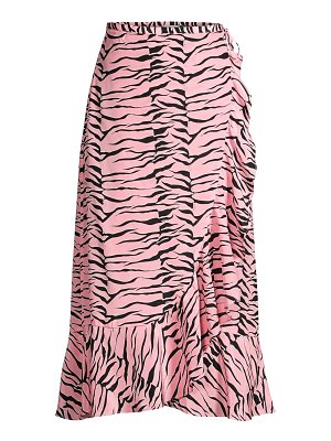 Rixo gracie tiger print silk wrap midi skirt