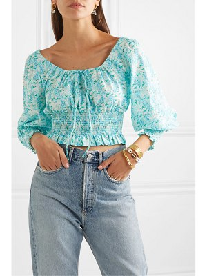 Rixo helena cropped shirred floral-print cotton top