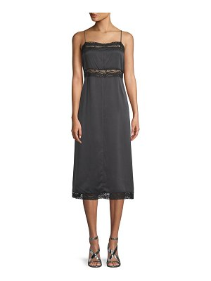 Robert Rodriguez Lace-Trimmed Silk Slip Dress