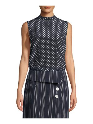 Robert Rodriguez Sleeveless Open-Back Polka-Dot Blouse