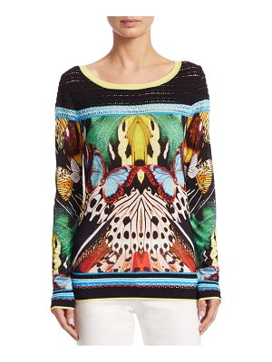 Roberto Cavalli knit butterfly-print blouse