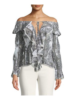 Roberto Cavalli Off-the-Shoulder Ruffle Front Printed Cotton Blouse