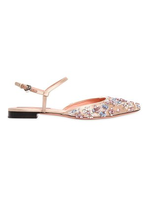 Rochas 10mm crystals satin flats
