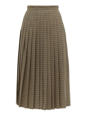 Rochas checked pleated wool blend midi skirt