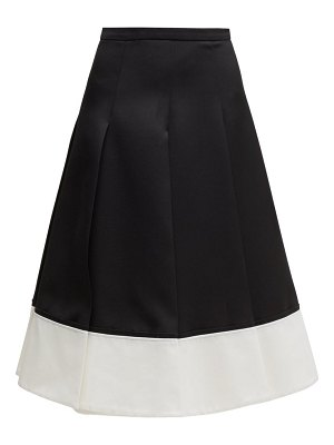 Rochas contrast-hem pleated wool-twill skirt