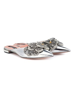 Rochas Embellished metallic leather slippers
