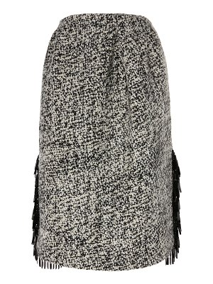 Rochas embellished wool-blend boucle skirt