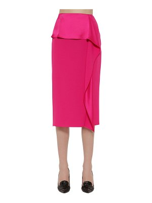 Rochas Enver satin ruffled pencil skirt