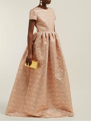 Rochas gathered floral brocade gown