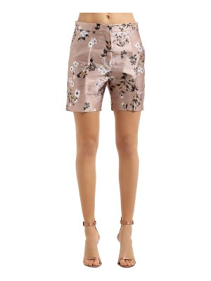 Rochas Floral printed duchesse satin shorts