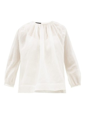 Rochas gathered silk organza blouse