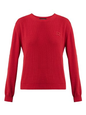 Rochas logo appliqué cotton sweater