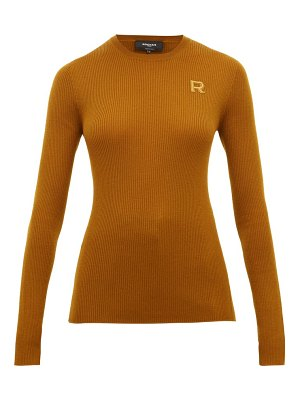 Rochas logo embroidered wool sweater