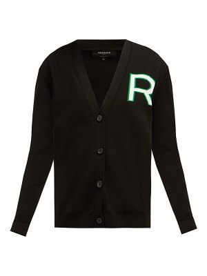 Rochas logo intarsia knitted cotton cardigan
