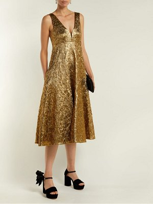 Rochas metallic-bouclé foil-effect midi dress