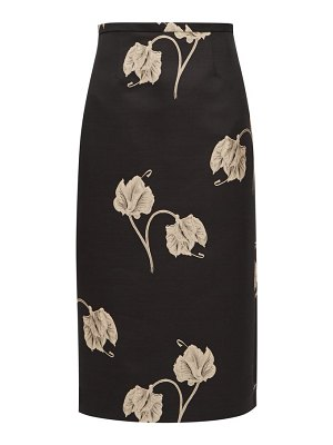 Rochas oncidium embroidered orchid pencil skirt