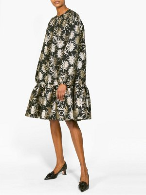 Rochas pace vanilla flower metallic jacquard dress