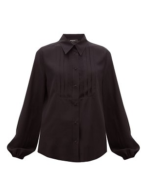 Rochas pintucked-front silk blouse