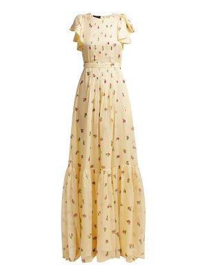 Rochas pleated floral-print silk-georgette gown