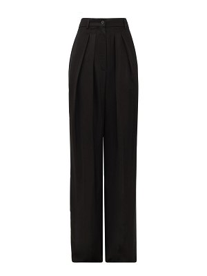 Rochas pleated-front wide-leg crepe trousers