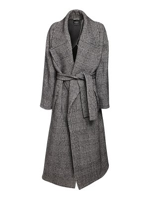 Rochas Prince of wales wool blend maxi coat