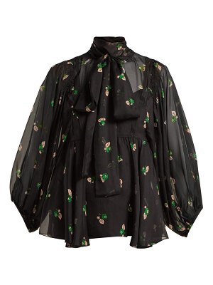 Rochas pussy bow floral print silk blouse