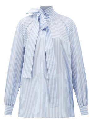 Rochas pussy-bow striped cotton blouse