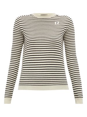 Rochas r appliqué striped cashmere sweater