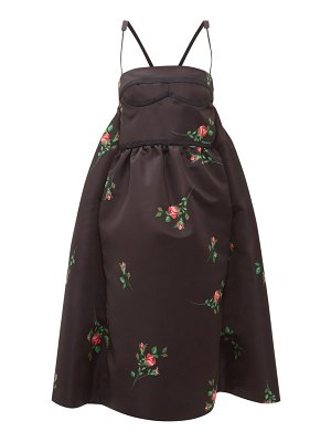 Rochas rose print duchess satin midi dress