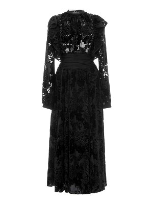 Rochas ruffled flocked velvet midi dress