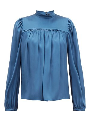 Rochas ruffled silk satin blouse