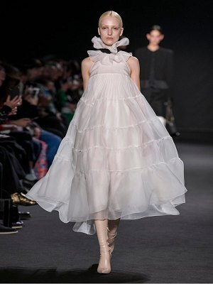 Rochas ruffled tiered organza midi dress