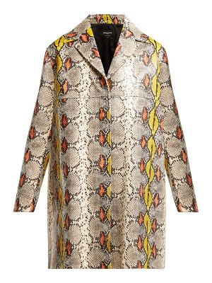 Rochas single breasted python effect leather coat