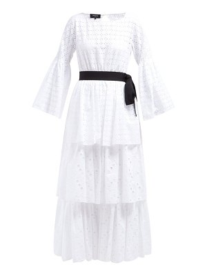 Rochas tiered cotton broderie-anglaise dress